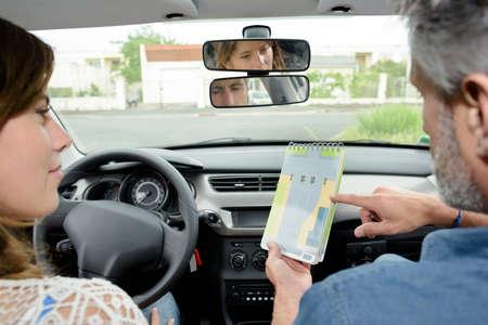 driving teacher Stock Photo