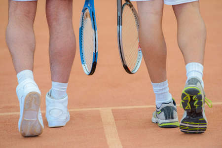 shoe strings: tennis players Stock Photo