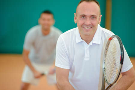 sportsmanship: tennis players Stock Photo