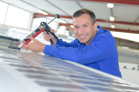 middleaged: happy worker Stock Photo