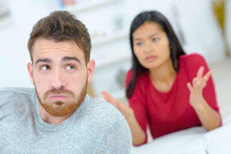 nagging: Couple having a heated discussion Stock Photo