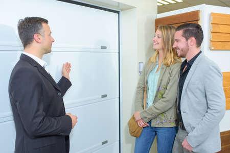 door: electronic garage door Stock Photo
