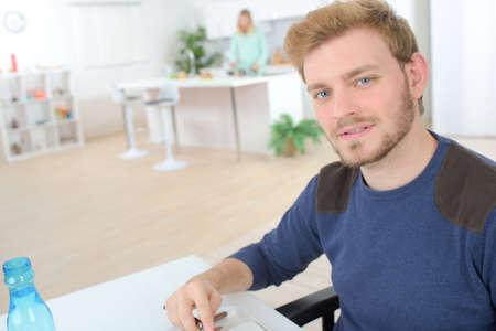 handome: man at workplace