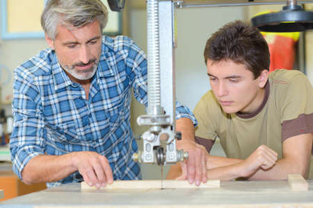 cabinetry: wood craft lesson Stock Photo