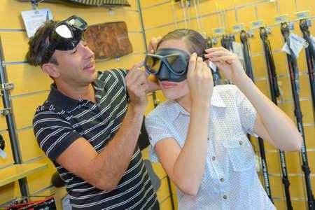 testing vision: testing the scuba mask Stock Photo