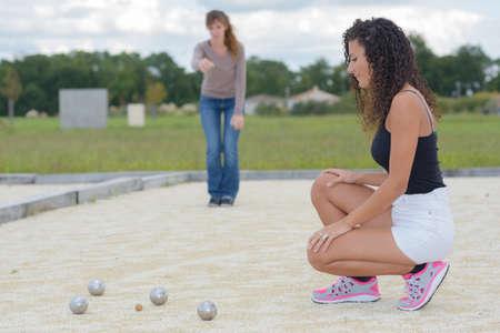 boules: Women playing outdoor boules