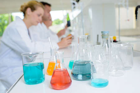 pharmacologist: chemical samples in the laboratory Stock Photo