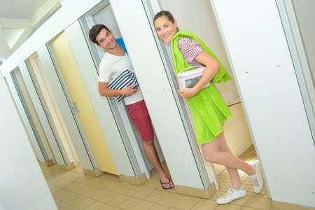 communal: communal bathroom at campsite