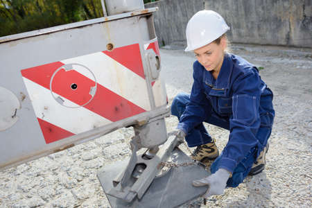 independent contractor: levelling the construction truck Stock Photo