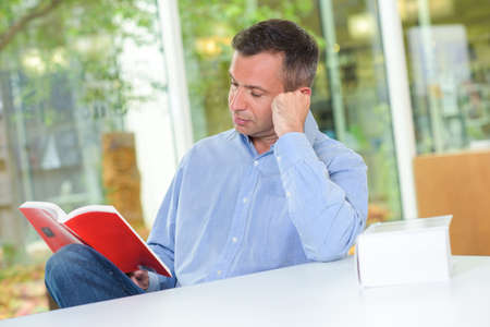screenwriter: reader reading a book Stock Photo