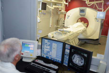 patient having nuclear examination Stock Photo