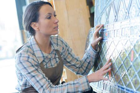 glasswork: making glass windows Stock Photo