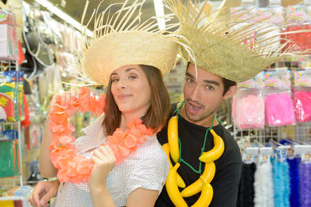 blind date: in the party store Stock Photo