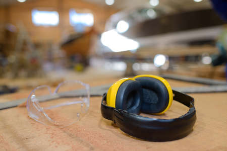 building regulations: earmuffs and goggles Stock Photo