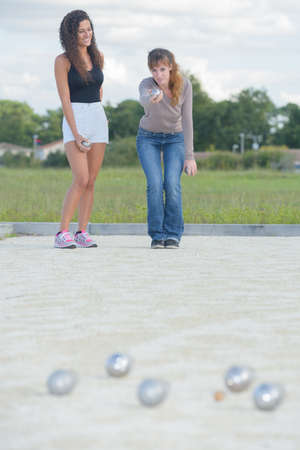 friends playing boules Stock Photo