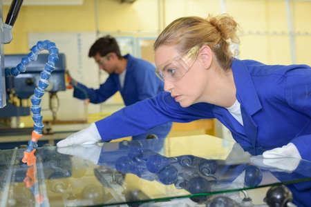 fabrication: glass fabrication factory Stock Photo