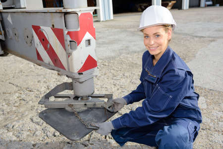 stabilize: builder levelling truck Stock Photo