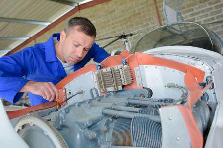 prototypes: focused aircraft mechanic Stock Photo