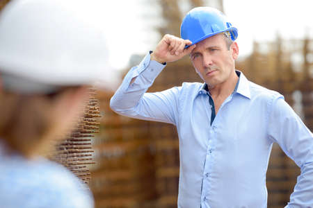 hard hats: colleagues with hard hats