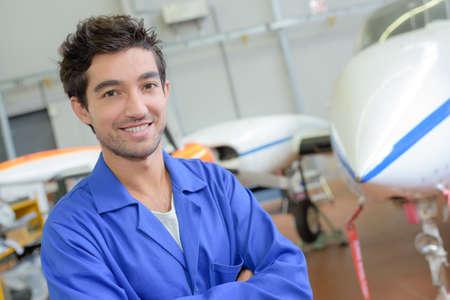 aerospace: aerospace employee posing Stock Photo