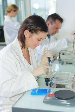balanza de laboratorio: Los técnicos de laboratorio en el trabajo Foto de archivo
