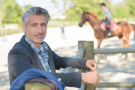 rancher: rancher with horse Stock Photo