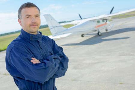 aerodrome: Portrait of man at aerodrome Stock Photo