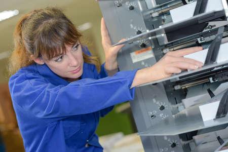 technical department: mending a complex machine Stock Photo