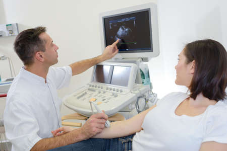 findings: Doctor performing ultrasound explaining findings to patient