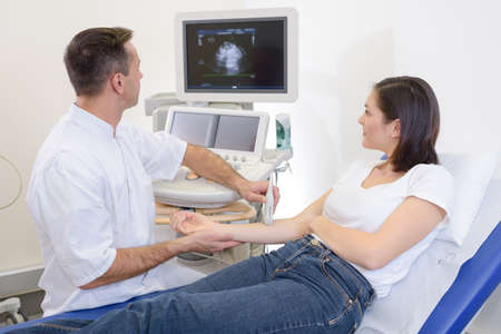 high frequency: doing an ultrasound on the arm