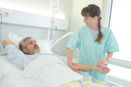 resting: nurse checking on a patients