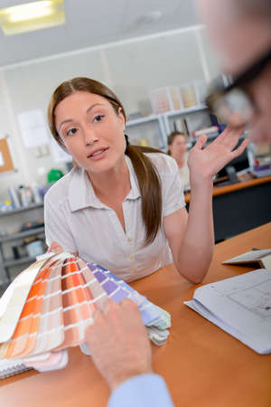 paint samples: Lady showing paint samples to customer