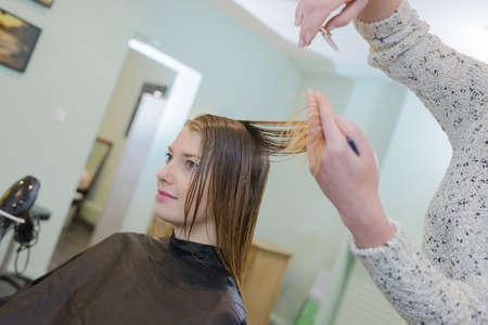 estilista: stylist hairdresser doing haircut