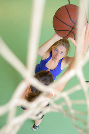 Downward view of basketball player