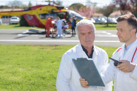heliport: old doctor and a mobile flying ambulance