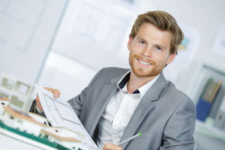 male architect making model in office Stock Photo