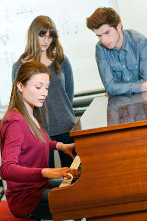 art lessons: piano lessons at a music school Stock Photo