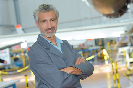 avionics: aerospace factory manager Stock Photo
