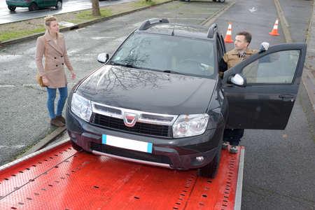 hauler: towing the car Stock Photo