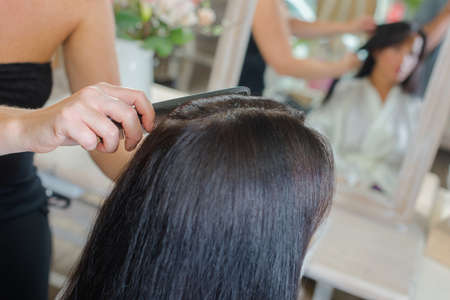 styler: comb and hair Stock Photo