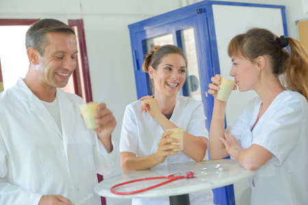 health professional: Cheerful medical workers on break