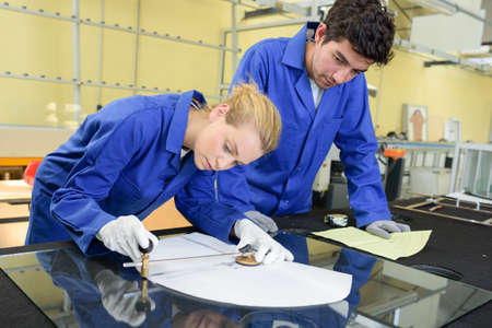metallurgist: young metallurgists at work in school workshop