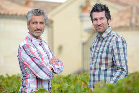 Twee mensen chatten over de tuin haag Stockfoto - 67515148