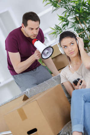 unhappy couple having argument or break up at home Stock Photo