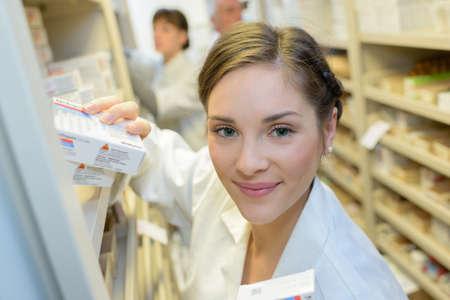 Portrait of pharmacy dispenser Stock Photo
