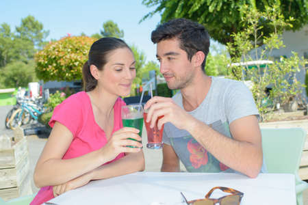 couple having a drink Stock Photo