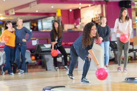 people in action: Girlfriends ten pin bowling