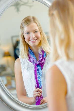 blind date: girl looking in mirror