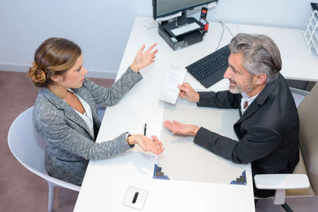 Circumstance: meeting with financial advisor Stock Photo