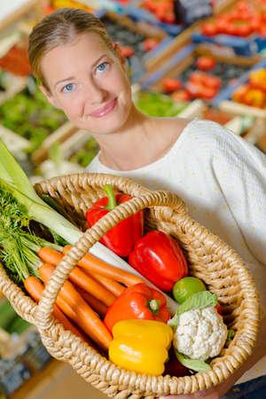 basketful: basketful of vegetables Stock Photo